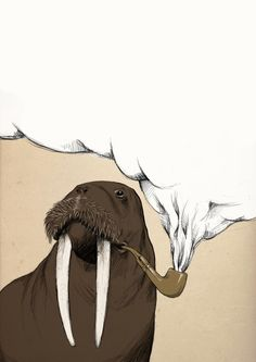 smoking walrus : a digital illustration made by me ( nome utente )