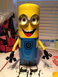 Despicable Me minion crafted from an old air compressor
