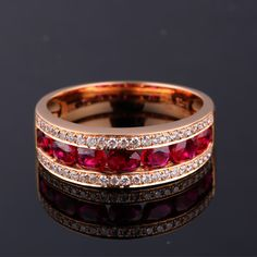 #Women's #Wedding #Band #18K #Rose #Gold #Diamond #Rings #Perfect #Cut #Oval #Pigeon #Blood #Ruby #Engagement #Rings