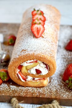 This Strawberry Shortcake Roulade is the ideal summer dessert. Cake rolls are always stunning but this one is particularly so. Light and airy cake wrapped around a sweet whipped cream and fresh strawberry filling. // Mom On Timeout Strawberry Roll Cake, Homemade Strawberry Shortcake, Strawberry Filling, Cake Roll Recipes, Dessert Recipes, Roulade Recipe, Sweet Whipped Cream, Cheap Clean Eating, Homemade Cheesecake