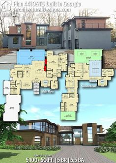 Trendy Ideas For Modern House Plans : – Picture : – Description Architectural Designs Home Plan comes to life in Georgia! It gives you 5 bedrooms, baths and sq. Dream House Plans, Modern House Plans, Modern House Design, House Floor Plans, Modern Floor Plans, Modern Houses, Building Plans, Building A House, The Plan