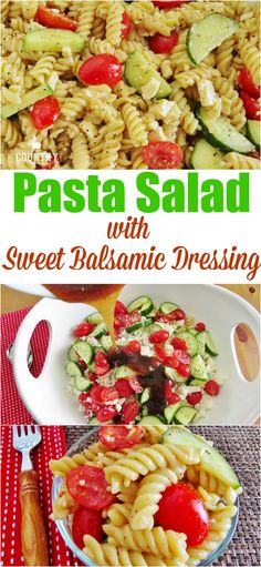 Pasta Salad with Sweet Balsamic Dressing recipe at The Country Cook. The dressing is absolutely AMAZING!!