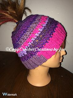 This is a quick to work up ponytail/bun hat! It only comes in adult female sizes, but should be easily adjustable to make smaller or larger.