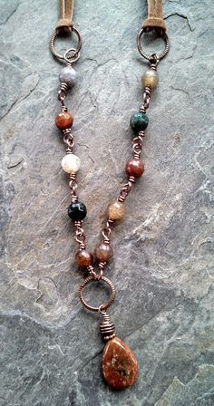 Natural Stone Leather and Copper Necklace by BossyBeads on Etsy