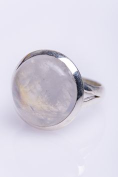 925 Sterling Silver Ring Large Round Moonstone