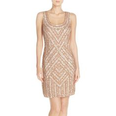 Adrianna Papell Embellished Mesh Sheath Dress ($349) ❤ liked on Polyvore featuring dresses, blush, embellished dress, beige sheath dress, sequin tank dress, sleeveless tank dress and sparkly dresses