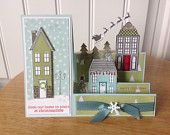 Stampin Up handmade Christmas card - side step card - home for holiday