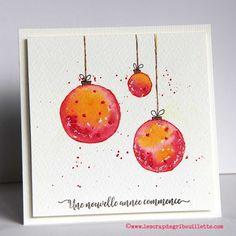 Cartes_Aquarelle et boules de Noël_Watercolor Cards