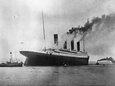 RMS Titanic leaving Belfast for her sea trials on 2 April 1912