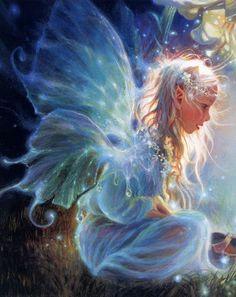sparkling fairy dust in her hair Artist~Donna Green Magical Creatures, Fantasy Creatures, Fairy Dust, Fairy Tales, Witcher Wallpaper, Elfen Fantasy, Kobold, Fairy Pictures, Pictures Of Angels