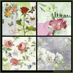 Floral+Paper+Napkins | Floral Paper Napkins - Use For Decoupage, Mixed Media, Scrapbooking ...
