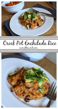 This rice dish is hearty enough to serve as a main dish, but easy enough to be a side. An easy crock pot dish with black beans, corn, enchilada sauce and made with either rice or quinoa (or both!) that everyone will love!