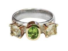 Silver and gold ring wit CZ and Tourmaline.