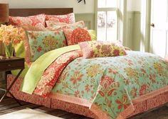 3-Pc Amy Butler Sari Bloom Paisley KING Comforter Set Floral Coral Aqua Organic #AmyButler #Contemporary
