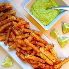 Baked & Spicy Rutabaga Fries & Avocado Dipping Sauce from 🍟🍴 Fries : 4 turnips peeled and sliced into inch french fries 1 tbsp olive oil tbsp chili powder tbsp oregano . Easy Healthy Recipes, Fall Recipes, Easy Meals, Healthy Food, Turnip Fries, Turnip Recipes, Making French Fries, Avocado Fries, Ideal Protein