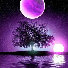...cool purple moon reflection