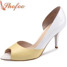 59.00$  Watch here - http://ali234.shopchina.info/go.php?t=32812063861 - 2017 Yellow Orange New Design Women Sandals Shoes Jane Fonda High Heels Pumps High Quality Luxury Brands Shoes Size 33 Shofoo 59.00$ #buymethat