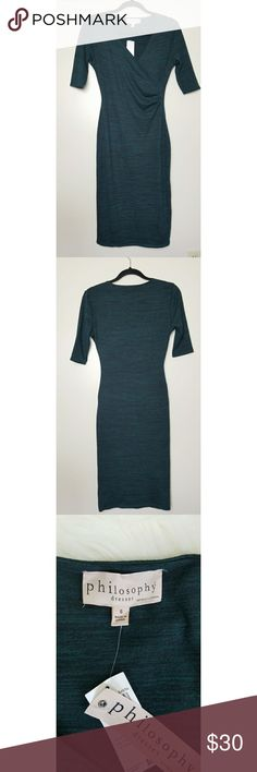 NWT Philosophy Teal/Black Midi Dress 3/4 sleeve Sm This is a gorgeous brand new with tags Philosophy midi dresses perfect for work or night out.  This dress is made of 48% Rayon, 48% polyester and 4% spandex and is very stretchy and soft on the skin.  The dress has no flaws and measures 43 inches long. If you have any additional  questions regarding this dress please do not hesitate to ask. Thank you for visiting  my closet. Philosophy Dresses Midi