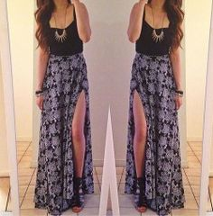 Outfit | Black top, Maxi Slit Skirt, Necklace, Strappy Wedges