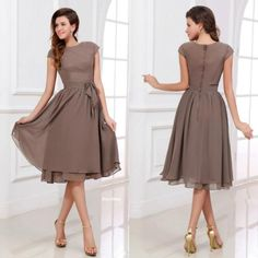 Buy wholesale long gowns,maid of honor dresses along with peach bridesmaid dresses on DHgate.com and the particular good one- Popular Scoop Short A-line Knee Length Chiffon Brides Maid Dresses Modest Bridesmaid Dress with Sleeves LS09450 is recommended by lenafashion at a discount.