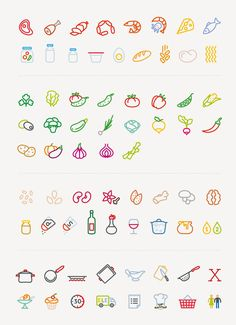 Ingenious vector icon recipe cards make cookery a joy - Delivery Food - Ideas of Delivery Food - Elementaree set by MAXIM ALI via Behance Icon Design, Graphisches Design, Logo Design, Design Ideas, Flat Design, Doodle Icon, Doodle Art, Sketch Note, Doodles