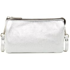 Kenneth Cole New York Alton Metallic Leather Crossbody featuring polyvore women's fashion bags handbags shoulder bags silver white leather handbags leather cross body purse crossbody shoulder bag leather shoulder bag crossbody purses