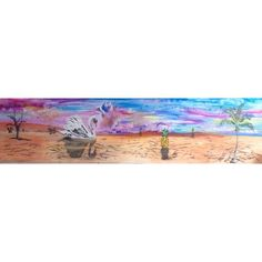 """Title: Journeying beyond the mind Size: 2.4m X 0.6m Mix media on board. Price: R1600  The painting is depicting a swan venturing out of the desert toward a place of peace and tranquillity.  The Desert is the place where man faces Nature per excellence and also himself. The Swan symbolizes grace nearing the pineapples which are recognized as a traditional expression of """"welcome"""". The triangle is connected to the number three which represent true wisdom and the body-mind-spirit connection. The…"""