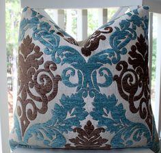 Decorative Pillow Cover - 18 x 18 Paisley Peacock Blue/Aqua Brown Silver Backing Pillow Cover - Throw Pillow. $38.00, via Etsy.