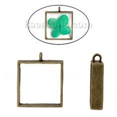 """Wholesale - Zinc Based Alloy Open Back Bezel Pendants For Resin Square Antique Bronze 33mm(1 2/8"""") x 28mm(1 1/8""""), 2 PCs"""