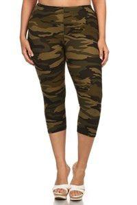 Plus size green camo capri leggings  www.legsmart.ca