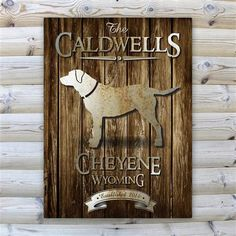 Rustic Wood Cabin Canvas Sign Free Engraving  www.GiftsEngraved.net