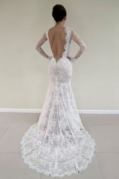 Open Back Lace Wedding Dress, Long Sleeved Bridal Gown, Wedding Dress with Lace Sleeves, Champagne Wedding Dress, Sexy Wedding Dress