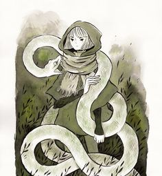 "6,304 Me gusta, 32 comentarios - Heikala (@heikala) en Instagram: ""Inktober day 1, A witch and a white python familiar I'm doing just witches this inktober …"""