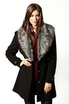 $65 Large Shawl Collar Faux Fur Fitted Coat