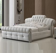 Veronica chesterfield king bed in white bonded leather - 21189 shop online for beds at furniture in fashion. Available in fabric, wooden, metal and high. Bed Headboard Design, Bedroom Bed Design, Bedroom Furniture Design, Bed Furniture, Office Furniture, Furniture Removal, White Leather Sofa Bed, Faux Leather Sofa, Leather Furniture