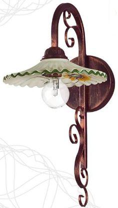 R 9142 LAMPADA PARETE IN CERAMICA DECORATA - Eurokeramic Applique, Clock, Interior, Wall, Home Decor, Iron, Handmade Lamps, Watch, Decoration Home