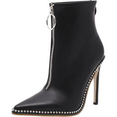 Rivets Pointed Toe Stiletto Heel Boots (€33) ❤ liked on Polyvore featuring shoes, boots, zaful, pointed toe stiletto boots, black pointed toe shoes, high heel stilettos, stiletto boots and black pointy toe boots