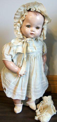 "Antique Vintage Baby Doll Plassie Composition Cloth Clothes Ideal 18"" 1940s   eBay"