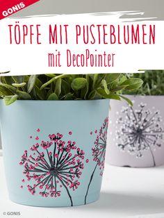 Wie Sie Blumentöpfe Schritt-für-Schritt mit Pusteblumenmotiven gestalten. diy