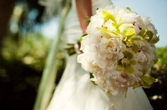 peony and green orchid wedding bouquet