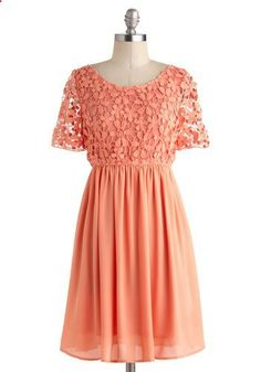 cant wait to wear this for a wedding this summer! // Got It Wallflower Together Dress - Mid-length, Pink, Solid, Crochet, A-line, Short Sleeves, Scoop, Wedding, Daytime Party, Vintage Inspired, Pastel, Spring, Sheer, Prom, Bridesmaid