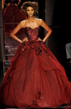 Elie Saab   Nikki wore a red gown very similar to this one except it had sleeves.This was another pajent during her high school days.