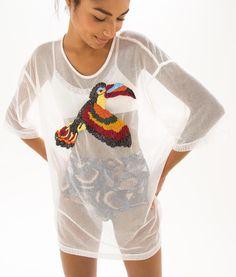 blusa oversize bordada
