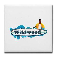 Wildwood NJ - Surf Design Tile Coaster on CafePress.com