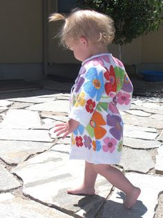 Dish towel toddler robe tutorial. So very cute & looks easy to do.