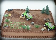 Quad Birthday Party Theme | The cake is chocolate with chocolate buttercream. The ATV's, trees ...