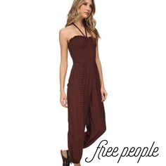 ✨Reduced✨ New! Free People balloon stripe jumpsuit Super trendy, beautiful full-length, rust colored jumpsuit with navy blue stripe detail, by Free People. Free People Pants Jumpsuits & Rompers