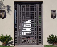 Contemporary Metal Gate Panels Steel Wrought Iron Custom Garden Entry Walk Thru