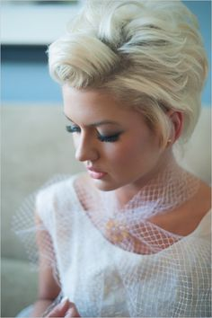Retro wedding hair. #rockabilly #shorthair (Photo by: Elizabeth & John Craig)