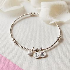 Personalised Silver Bead Bracelet With Tiny Frosted Heart Charm �30.00 - Bracelets and Bangles - Sterling Silver Bracelets Buy, Engraved Silver Jewellery, Personalised Mens, Womens Gifts, Online, UK